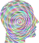 Prismatic Man Head Silhouette Concentric