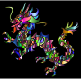 Chromatic Tribal Asian Dragon Silhouette 2