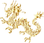Gold Tribal Asian Dragon Silhouette No Background