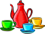 Coffee pot and cups (colour)