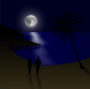Moonlit beach couple