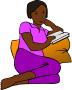 African Woman Reading more colour