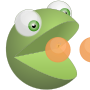 Green 3D pacman eating orange balls (rugk&#039;s avatar) />