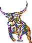 Tribal Bull Line Art Prismatic