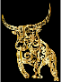 Tribal Bull Line Art Gold With Background