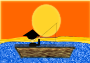 Chinese Man in a Boat under a Sunset />