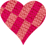 Chequered wool heart