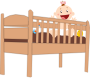 Plank cot bed with baby and Accessories