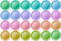 24 colorful buttons