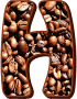 Coffee beans typography H