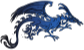Fierce Black and Blue Tribal Dragon />