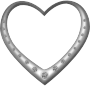 Silver heart studded with diamonds