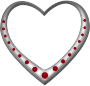 Silver heart studded with rubies