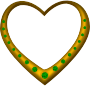 Gold heart studded with emeralds