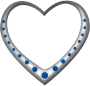 Silver heart studded with sapphires