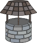 Wishing well with curved roof