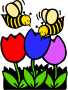 two bees three flowers