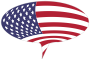 American Flag Speech Bubble With Stroke
