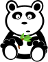 Panda with bamboo leaves />