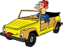 Boy Driving Car Cartoon